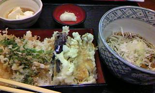 アナゴ天丼 + お蕎麦